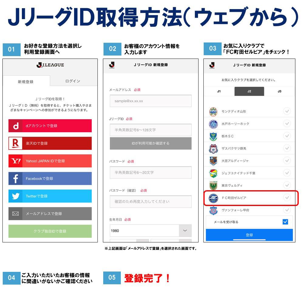 JリーグID取得方法(ウェブから)